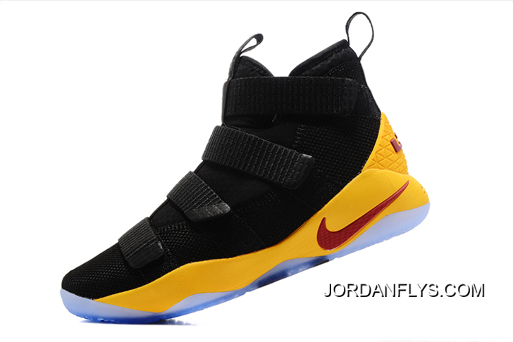 80bf466eb9bc Nike LeBron Soldier 11 Black Yellow Cavs PE Basketball Shoes Big Discount