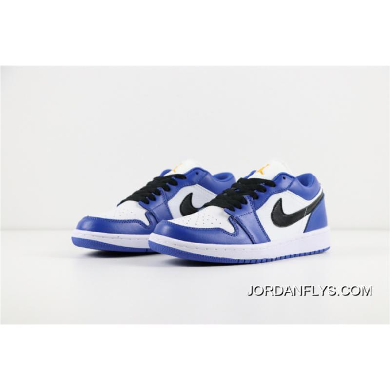 2794fb98b5bc90 ... New Air Jordan 1 Low Hyper Royal White-Orange Peel 553558-401 Big ...