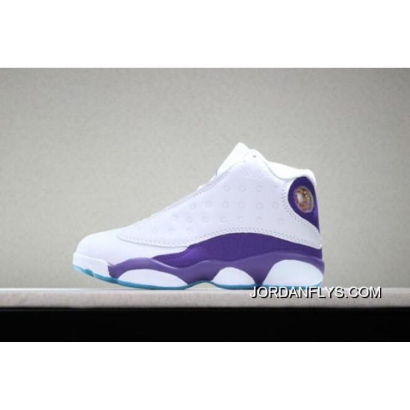 "820c046bbea9d2 New Style Kid s Air Jordan 13 ""Hornets"" PE White Purple Basketball Shoes ..."
