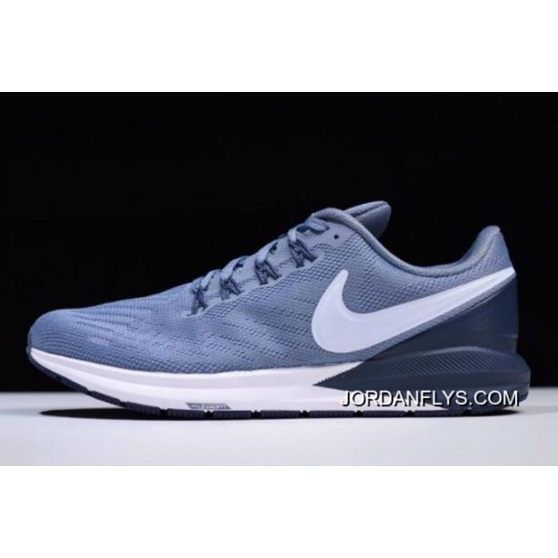 51b362c38e57 Nike Air Zoom Structure 22 Navy Blue White AA1636-401 Free Shipping Outlet  ...