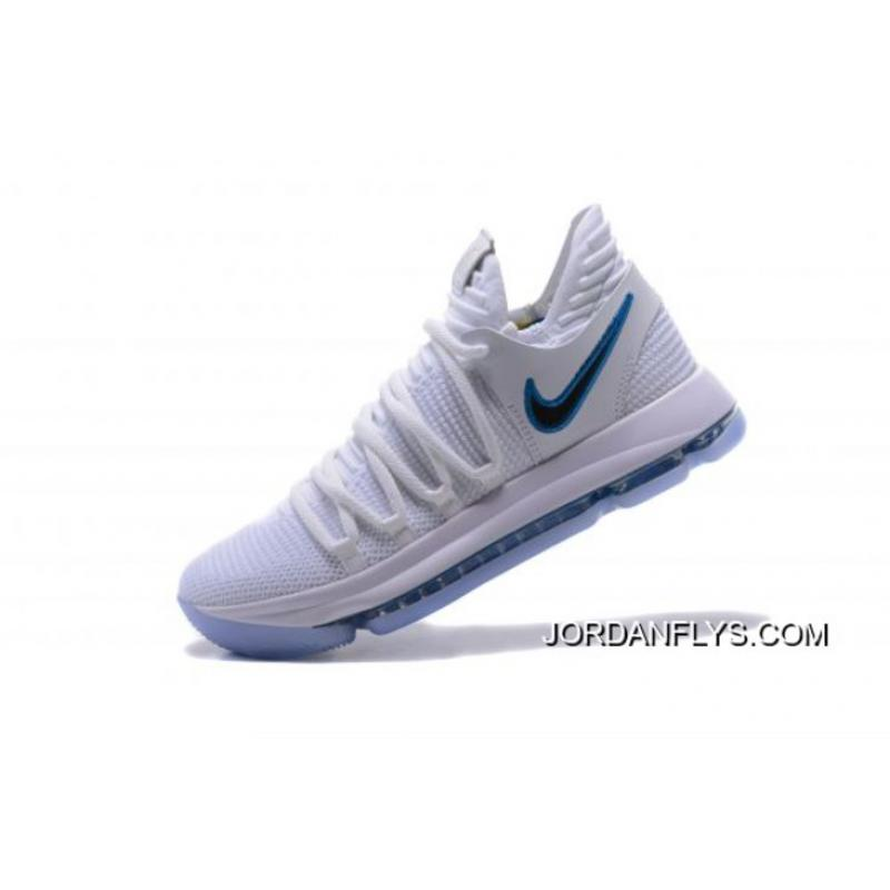 """fefc25d109bb9 Nike KD 10 """"Numbers"""" White Game Royal-University Gold Basketball Shoes  897815 ..."""