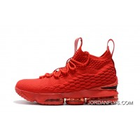 Men's Nike LeBron 15 Ohio State PE All-Red Basketball Shoes Hot Selling