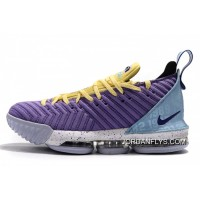 "Men's Nike LeBron 16 ""Lakers Heritage"" Atomic Violet/Bicycle Yellow-Half Blue CK4765-500 Free Shipping"