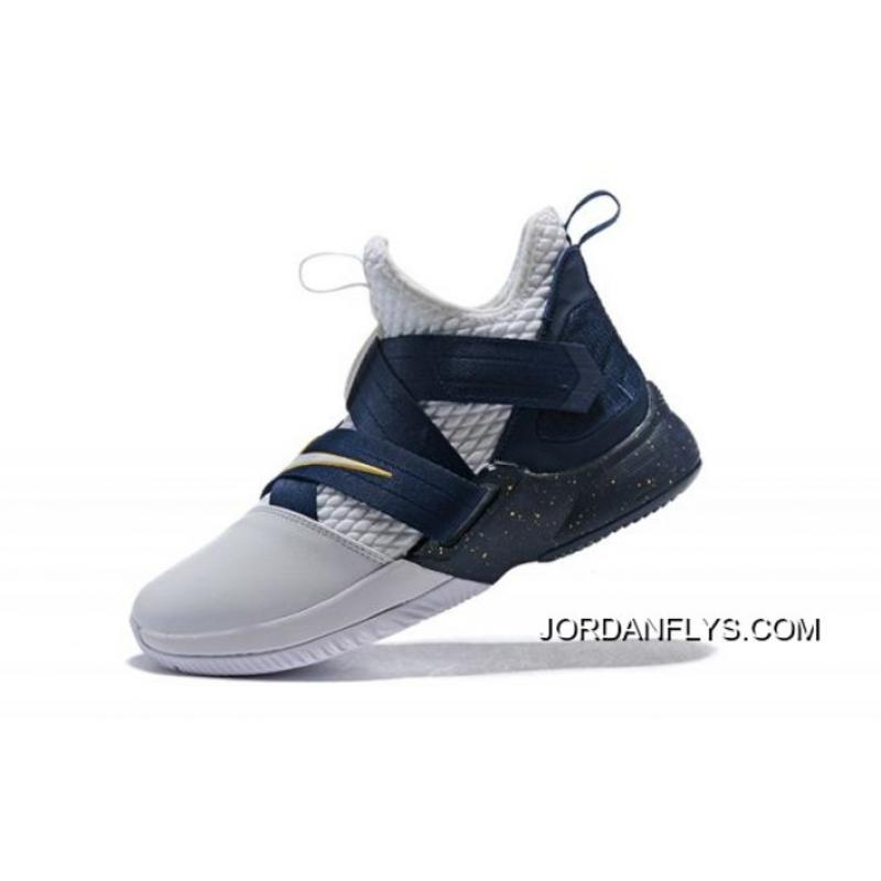 new product 64a9c 9f912 Free Shipping Nike LeBron Soldier 12 XII SFG White/Midnight Navy-Mineral  Yellow Basketball Shoes