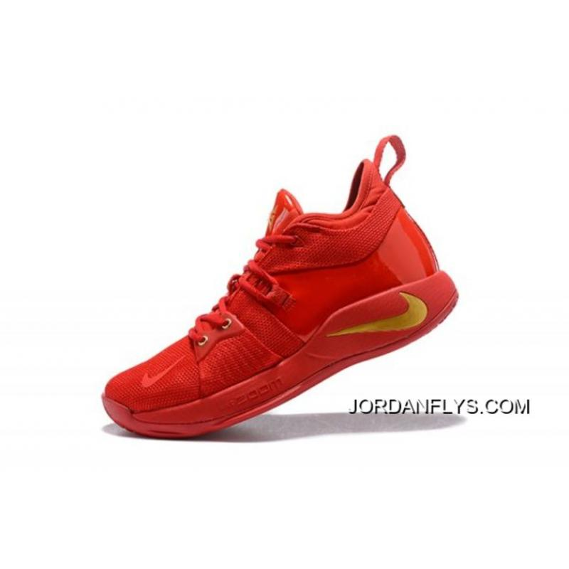 """9effa79aaaf New Release Nike PG 2 """"Gold Medal"""" Fire Red Gold Men s Basketball Shoes ..."""