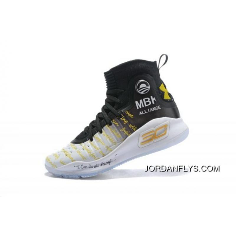 """e85ce9ec2cb9 New Release Under Armour Curry 4 """"MBK Alliance"""" Black White Gold Men s Basketball  Shoes ..."""