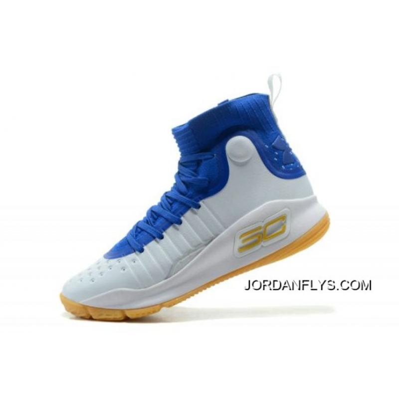 731b041cacb7 Outlet New Under Armour Curry 4 White Royal-Gum Men s Basketball Shoes ...