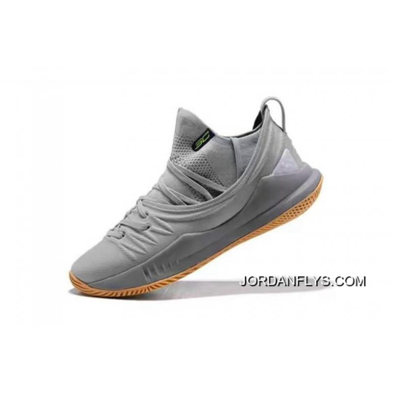 cdb160fb4723 Online Stephen Curry s Under Armour Curry 5 Low-Top Grey Gum Basketball  Shoes ...