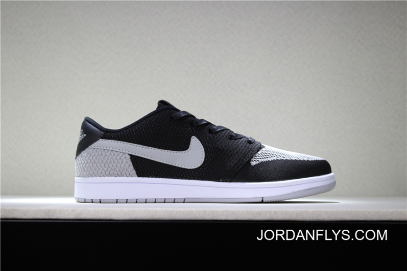 """competitive price 1e1d0 a0972 New Year Deals New Air Jordan 1 Low Flyknit """"Shadow"""" Black/Wolf Grey-White  Men's Basketball Shoes"""