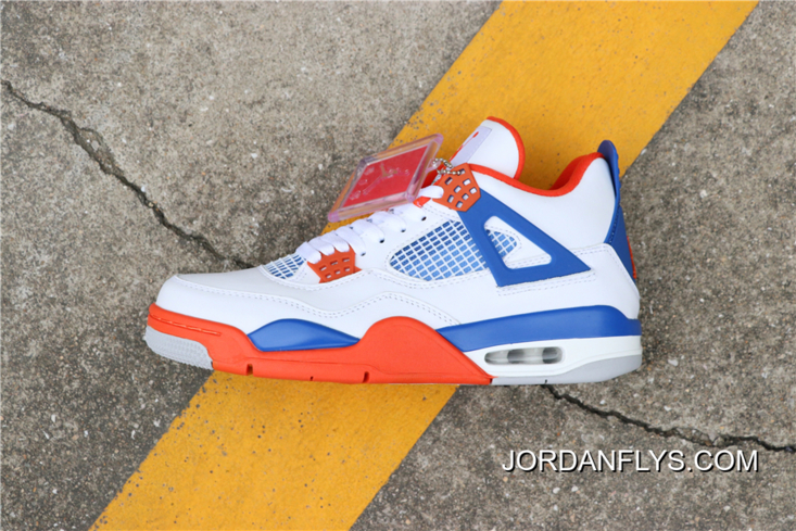 "finest selection 36ccb b32fb Custom Air Jordan 4 ""Knicks"" White/Royal Blue-Orange 308497-171 Free  Shipping Authentic"
