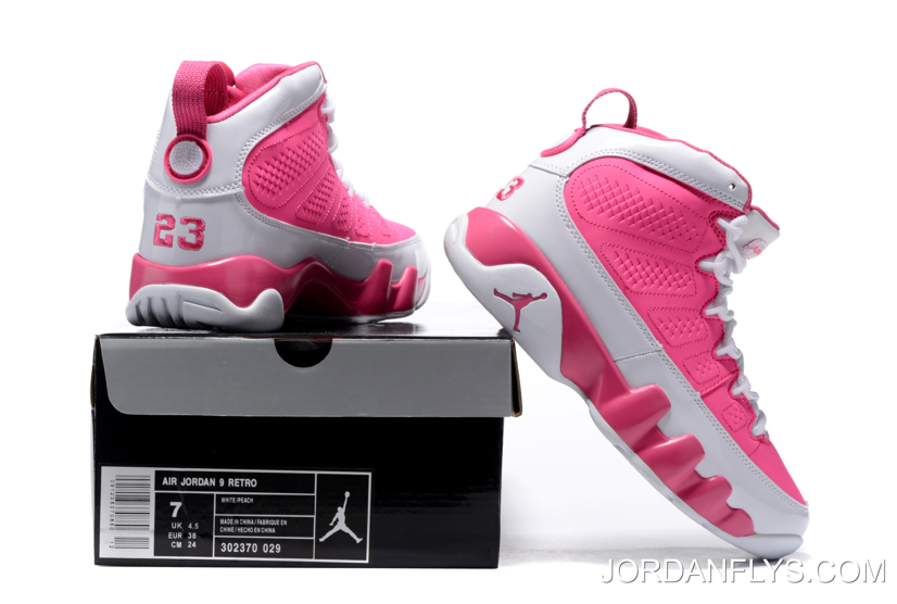 ccb247a36b6741 Discount Women s Air Jordan 9 GS Peach Pink White Basketball Shoes ...