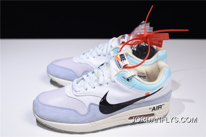 Latest Men's Off White X Nike Air Max 1 WhiteLight Blue Black AA3827 100