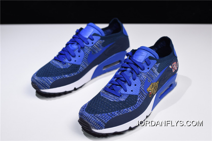 1072a7c053c460 Nike Air Max 90 Ultra 2.0 Flyknit Dark University Blue White 875943-400 Best