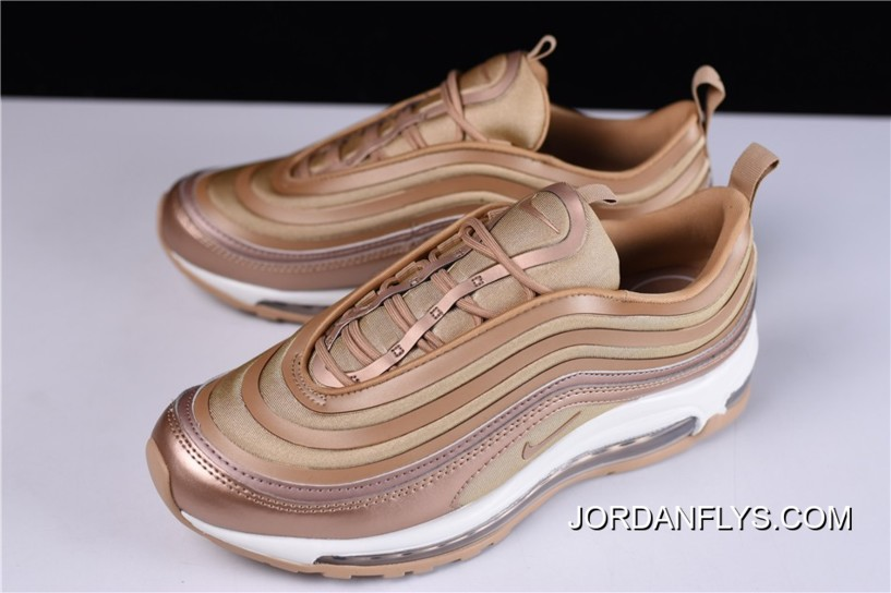 Mens and WMNS Nike Air Max 97 Ultra Metallic BronzeWhite Gum Light Brown 917704 902