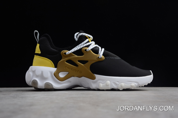 on sale 473ae ff280 Women/Men Nike Presto React Black/Yellow/White/Metallic Gold Running Shoes  AV2605-001 Best