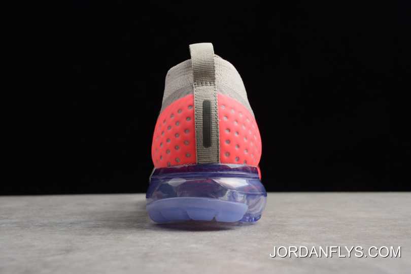 d59b13bae535b7 Mens And WMNS Nike Air VaporMax Flyknit Moc 2 Moon Particle Solar Red-Indigo