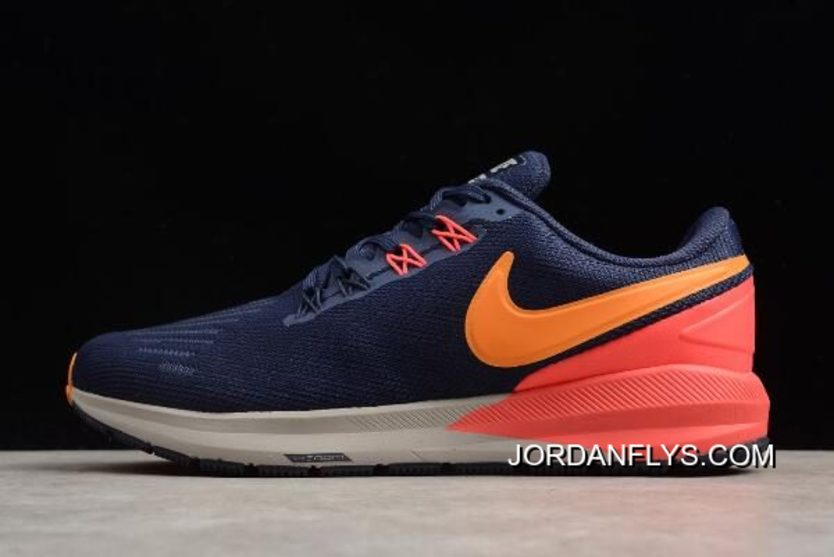 11270a7599d Nike Air Zoom Structure 22 Blackened Blue Orange Peel AA1636-400 For Sale