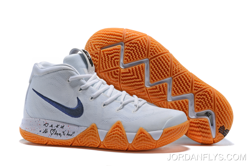 """promo code 50560 f6149 New Year Deals Nike Kyrie 4 """"Uncle Drew"""" White Gum Men's Basketball Shoes  AQ8623-001"""