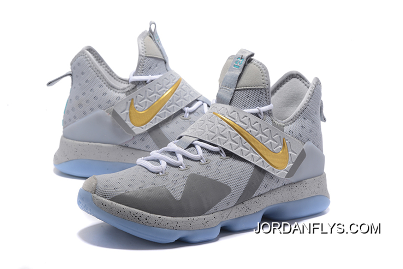 "c0cc4b907b86 Nike LeBron 14 ""Opening Night"" Wolf Grey Gold-Green Free Shipping Outlet"