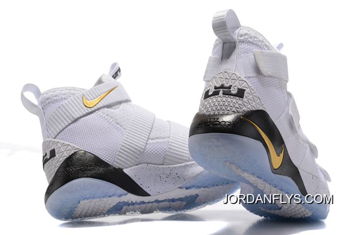 "a9a373730f8d Big Discount Nike LeBron Soldier 11 ""Court General"" White Metallic  Gold-Black"