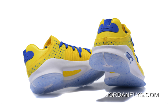 """a5c775794c61 Under Armour Curry 4 Low """"Warriors"""" Yellow Royal Blue-White Basketball Shoes"""