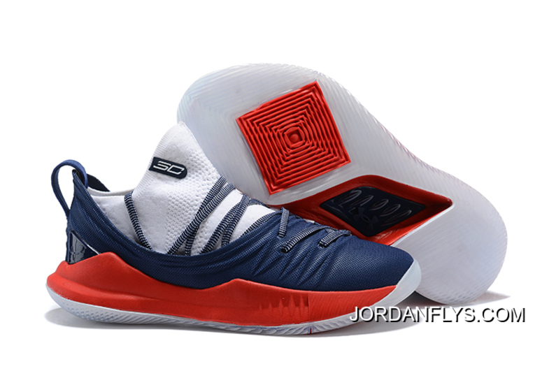 72160d4b01c0 Online Men s Under Armour Curry 5 Low Navy Blue Red-White Steph Curry  Basketball